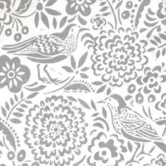 'Pipit and Sanderling' block printed fabric by Woven Oak, England. Products carried by Terrain.