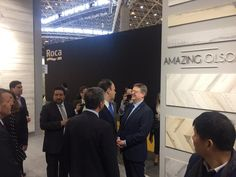 Ximo Puig and the Presidential Convoy visiting our booth.  #Cevisama #cevisama2017 #gayafores #ceramics #tiles #interiordesign #wood
