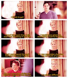 "When she spilled her heart about her sacrifices. | 23 Of Buffy's Most Iconic Lines On ""Buffy The Vampire Slayer"" Buffy Summers, Joss Whedon, Geek Out, Real Vampires, Buffy The Vampire Slayer, Tv Quotes, Apocalypse, Werewolf, Fangirl"