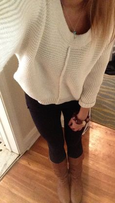 Winter fashion love the riding boots with skinnies and over sized sweater