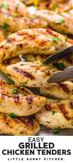 These succulent and juicy Grilled Chicken Tenders are made very quickly on the grill! The chicken tenders are marinated in a herb lemon and olive oil marinade, then grilled on a grill pan or an outdoor grill for a quick summer main dish. Serve on their own with your favorite dip, or in wraps, salads, and pasta. #grilledchickentenders