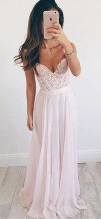 Spaghetti Straps Appliques Charming A-Line Prom Dresses,Long Evening Dresses,Prom Dresses
