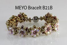 If you have been interested in giving beaded beads a try, this is the perfect kit for you. You will create elegant and unique Beadwork Bracelet beaded Swarovski Crystal Beads, Crystal Jewelry, Bead Jewellery, Beaded Jewelry, Jewelery, Easy Beading Tutorials, Beading Techniques, Bead Kits, Woven Bracelets