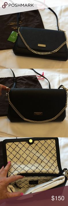 Kate Spade Newburyport Lane  crossover/clutch Brand new w tags and receipt comes w dust bag never used  clot black the strap removes for a more formal look it can be used with the chain handle. Really pretty measures 10 x6 zip pocket inside kate spade Bags Crossbody Bags