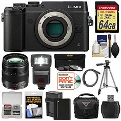 Panasonic Lumix DMC-GX8 4K Wi-Fi Digital Camera Body (Black) with 12-35mm f/2.8 OIS Lens   64GB Card   Battery   Charger   Case   Flash   Tripod   Kit -- Click image for more details.