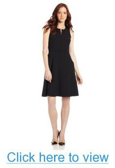 Anne Klein Women's Petite Sleeveless V Neck A-Line Suit Dress with Waist Detail