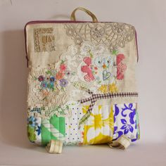 Cute backpack with vintage fabric and trims by Roxy Creations