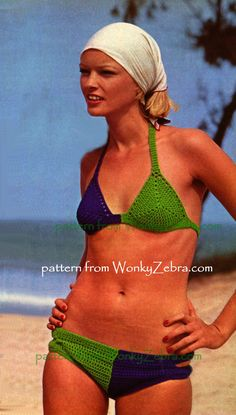 Fab French green bikini ...and blue bikini too for this harlequin colouring in this sexy little vintage bikini. Side detail on panties and halter ties...from WonkyZebra WZ100