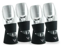 Vinturi Essential Wine Aerators, Set of 4 by Vinturi. $143.16. Vinturi produces a better bouquet, enhanced flavors and smoother finish. Simply hold over a glass and pour wine through ? Vinturi draws in and mixes the proper amount of air for the right amount of time. Set of 4 innovative wine aerators for use with red wine. Aerators made of acrylic and each includes a no-drip stand; dishwasher safe. Includes machine washable travel pouches. Red wine needs to breathe to...