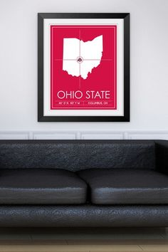 """Ohio State University Map Wall Art - 37"""" x 31"""" by Sports Collection on @HauteLook"""