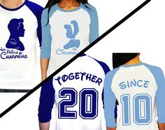 Personalized Couples Cinderella Anniversary Tee Shirts / Customized Disney Together Since Shirts / Cinderella and Prince Charming by PatsCustoms on Etsy https://www.etsy.com/listing/243937337/personalized-couples-cinderella