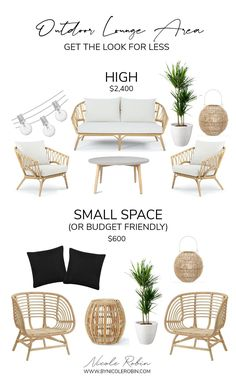 Condo Balcony, Small Balcony Decor, Small Outdoor Spaces, Small Patio, Outdoor Furniture Small Space, Modern Outdoor Lounge Furniture, Rattan Outdoor Furniture, Modern Furniture, Boho Lounge