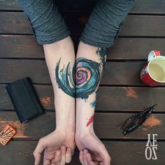 Abstract watercolor sketch style spiral by Yeliz Ozcan.  http://tattooideas247.com/abstract-spiral/