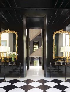 Jan Showers , 2014 Veranda. Black lacquer and a pair of Louis XV mirror. Don't forget the glass lamps...