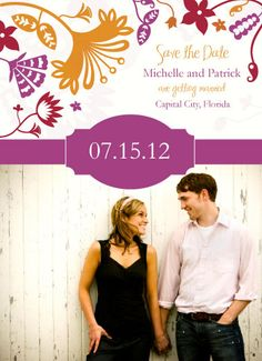 Whimsical Wisteria save the date www.savethedateforless.com