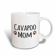 3dRose Cavapoo Dog Mom - Doggie by breed - brown muddy paw prints love - doggy lover - proud mama pet owner, Ceramic Mug, 11-ounce