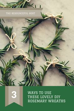 DIY Rosemary Wreaths: Needed: 1. Sprig of Rosemary 2. Twine Uses: 1. Napkin Ring 2. Place Card Holders 3. Table Garland #etsy #ad