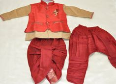 Sale 25% Discount - Indian Kids Bollywood Boys Red Silk Kurta Salwar Kameez Sherwani with Full Sleeves with Dhoti and Pant- Boys Shirt LaxmiFashions