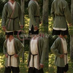 Adult Medieval Vikings Tunic Victorian Civil Wars Costume Mens Halloween Cosplay Costume D0115