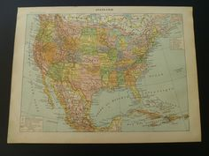 1905 two old maps of the United States of America - antique print / smapp poster USA - Alte Karte von Vereinigte Staaten - 23x31cm/9x12''