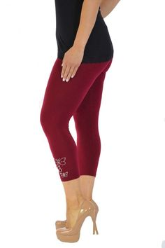Embellished Butterfly Foil Cropped Leggings - Wine Plus Size Leggings, Size Clothing, Plus Size Outfits, Sweatshirt, Shorts, Mini Skirt, Short Gowns, Trousers, Products