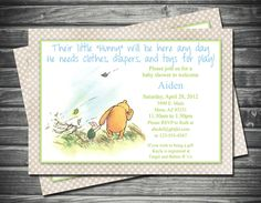 Classic Winnie The Pooh Amp Piglet Baby Shower Invitation