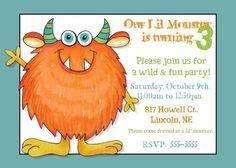 Monster Birthday Party Invitation  for Casey's 3rd Birthday??