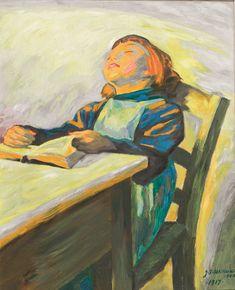 Girl with Book,, Jens Ferdinand Willumsen , 1917, (Danish, 1863-1958). Oil on canvas, 79.5 x 64 cm
