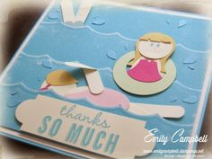 I created this Swimming Pool punch art card for my parents, who are paying for swimming lessons for my daughters.  See it at Tiny Kiwi Cards.