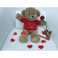 "Cuddly 16"" 'I Love You' Teddy Bear Package 1 Felt Roses, Royal Red, Red Felt, Rag Dolls, Little White, Shape Design, Brown Bear, Gift Packaging, Stuffed Animals"