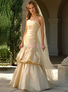 Champagne Mermaid/Trumpet Strapless Long/Floor-length Garden/Outdoor Wedding Dresses With Pick-Ups WD28A8