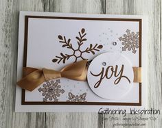 handmade card, christmas card, greeting card, snowflakes, gold accents, gold ribbon, rhinestones, white & gold, DIY, demonstrator, paper crafting, hobby, easy, quick, rubber, stamps, stamping, craft, paper, *Stampin' Up, by Amy Frillici, Gathering Inkspiration, order products online at amysuzanne.stampinup.net