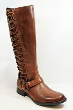 BORN ESTELLE TALL BROWN  LEATHER BOOT WITH SIDE LACE AND ZIP LOW HEEL  MSRP $210 #Brn #FashionKneeHigh
