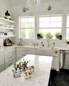 Love the open shelves and cozy atmosphere. Would add a little medium wood color for warmth. White Kitchen Decor, Kitchen Dinning, Diy Kitchen, Dining, Beach Cottage Style, Coastal Cottage, Coastal Style, Beach House, Cottage Kitchens