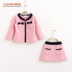 Solid long sleeve coat with skirt cute sport set kid clothes girls clothing Kids Outfits Girls, Toddler Girl Outfits, Baby Girl Dresses, Little Dresses, Toddler Fashion, Baby Dress, Kids Fashion, Baby Girls, Kids Girls
