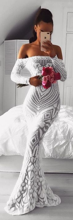 #winter #outfits gray and white lace off shoulder long sleeve bodycon dress #bodycondresslongsleeve