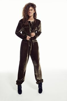 Love this velvet jumpsuit from Zendaya's new clothing line!