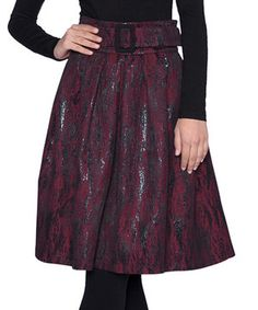 This Bordeaux Textured Abstract A-Line Skirt by Elfe is perfect! #zulilyfinds