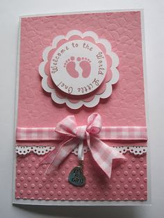 handmade Baby Shower Card ... pink!! ... sweet gingham ribbon and bow ... layered circle medallion with baby feet ... delightful card!!