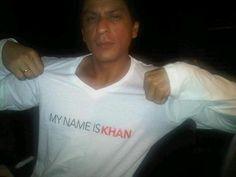 SRK wearing My Name Is Khan t-shirt.