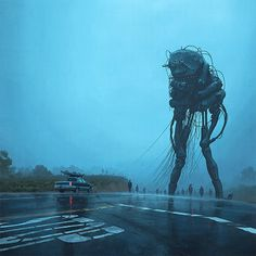 'Procession' by Simon Stålenhag. Find out more about Simon and see more of his amazing art at wowxwow.com (painting, digital art, digital painting, dystopian, landscape, mystery, narrative, realism, retrofuture, robots, sci-fi, science fiction, sweden, swedish, contemporary art, new contemporary)