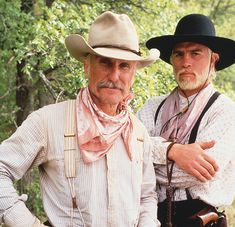 CBS's 1989 mini-series Lonesome Dove, starring (l.-r.) Robert Duvall and Tommy Lee Jones as Larry McMurtry's characters Gus McCrae and Woodrow F. Call, inspired a revival of Old West wear for fans and re-enactors looking for traditional mid- to late-19th century men's and women's frontier clothing. Western Film, Western Movies, Western Art, Western Style, Robert Duvall Movies, Movies Showing, Movies And Tv Shows, O Cowboy, Cowboy Hats