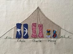 Items similar to Personalised machine embroidery family or couple wellies outside a tent. Present for moving house, new baby, birthday, wedding on Etsy Freehand Machine Embroidery, Free Motion Embroidery, Free Sewing, Hand Stitching, Wedding Gifts, Sewing Projects, Applique, Book Covers, Unique Jewelry