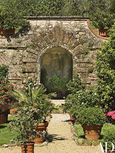A grotto fountain in the garden.