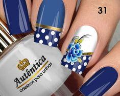 Adesivo de Unha Butterfly Nail, Classy Nails, Blue Nails, Nail Arts, Natural Nails, Pretty Nails, Nail Art Designs, Manicure, Nail Polish