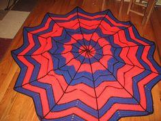 Spiderman crocheted blanket.