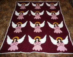 Heavenly Angles - Beautiful Burgundy Angels - Crochet Afghan Blanket Throw