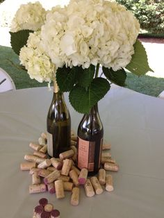Good ideas!  Love the centerpiece.  Wine glass favors, maybe a wine tasting game?