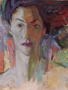 """""""Erica,"""" Frederick H. Varley, oil on panel, Trinity College, Toronto. Group Of Seven Artists, Group Of Seven Paintings, Tom Thomson, Emily Carr, Canadian Painters, Canadian Artists, Silk Painting, Figure Painting, Canada Images"""
