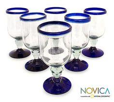 Wine glasses, 'Cobalt Joy' (set of 6) at The Animal Rescue Site